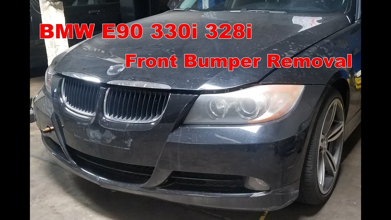 bmw e90 330i 328i 325 front bumper cover removal - youtube