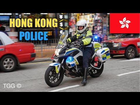 [Hong Kong] Police Using *Priority Siren* To Move Illegally Parked Taxis! (Honda Motorcycle)