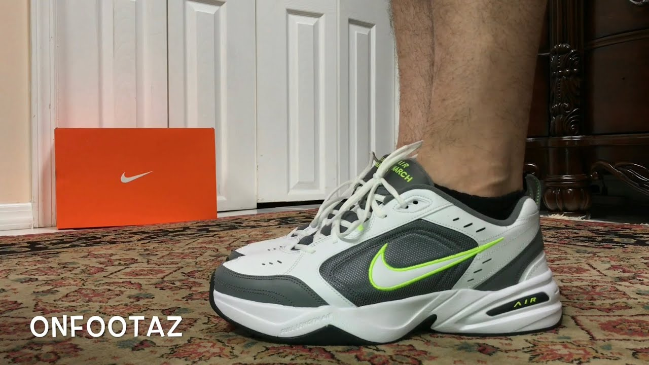 Nike Air Monarch White Cool Grey On Foot - YouTube f1ccee464