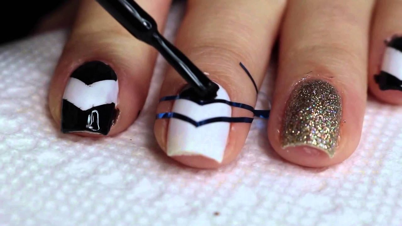 Nail art tip 6 black white and pink color youtube nail art tip 6 black white and pink color prinsesfo Images