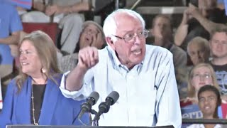 From youtube.com: Bernie Sanders speaking to a record crowd {MID-204827}