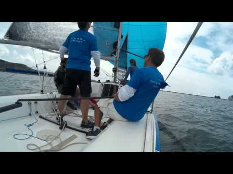 "Humphreys 22 ""Out of the blue"" sailing in Plymouth race week"