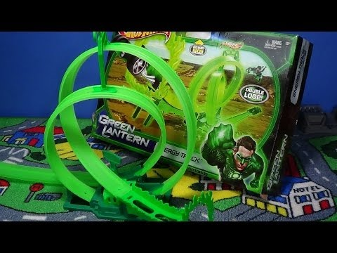 Hot Wheels Green Lantern Energy Track Set Double Loops!