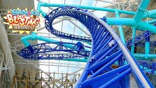 Sandy's Blasting Bronco Roller Coaster Multi Angle 4K POV Nickelodeon Universe American Dream