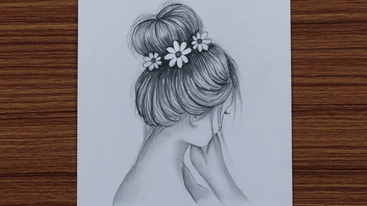 draw easy girl with bun