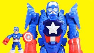 Playskool Captain America Mech Armor Rescues Super Dog And Superman Robot From Giant Sandman
