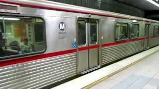 Subway trains at at Union Station, LA
