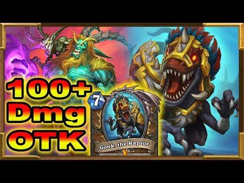 Hearthstone: 100+ Dmg OTK Gonk, The Raptor Mad Summoner   Rise Of Shadows New Decks   Standard