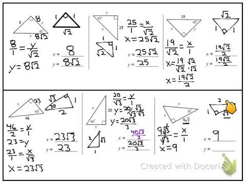 Right Triangles: Special Right Triangles 30-60-90 45-45-90