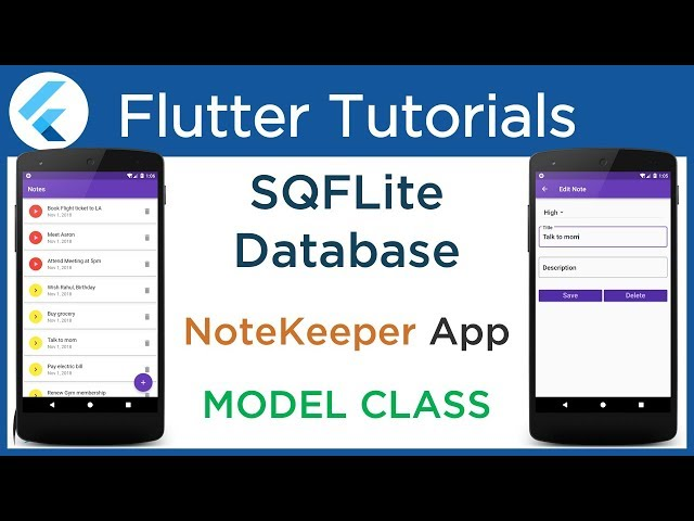 #4.6 Flutter SQFLite tutorial: Create Model Class to map SQLite Database Table