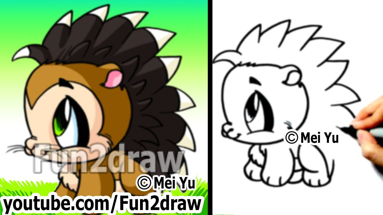 easy cartoon drawing tutorial how to draw a porcupine draw animals cute drawings fun2draw youtube