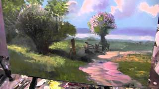 Игорь Сахаров, научиться рисовать маслом пейзаж, летний пейзаж, деревья