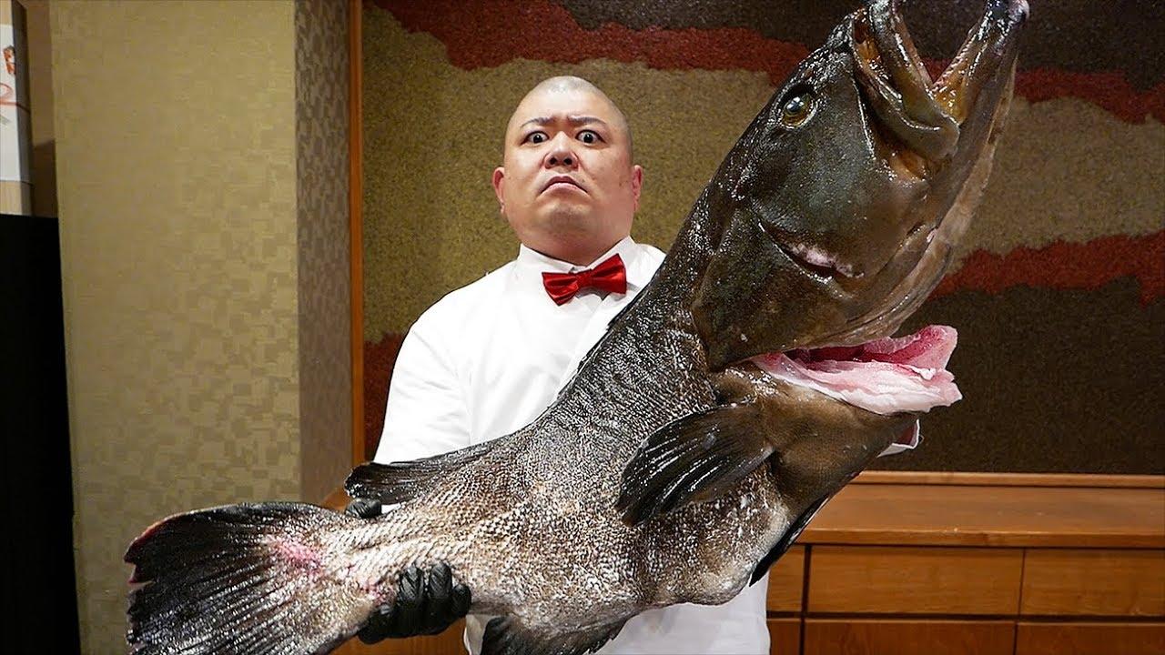 Japanese Food - GIANT GOLIATH GROUPER Sushi Teruzushi Japan
