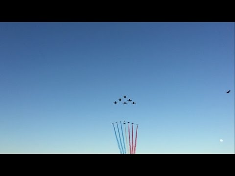 Blue Angels + Patrouille de France Flyby Pensacola Beach 2017