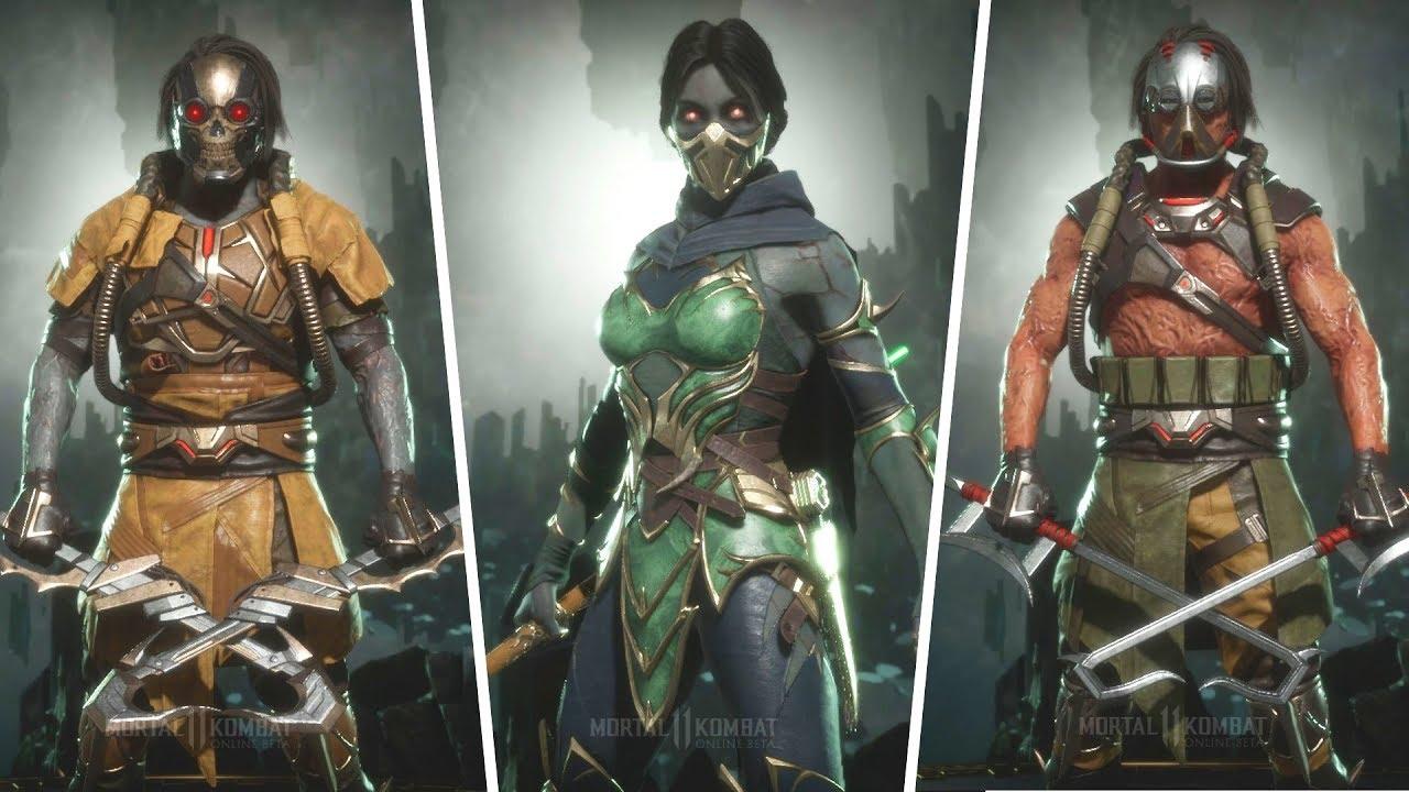 Mortal Kombat 11 Beta Jade Kabal All Gear Costumes And Skins