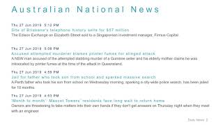 National News Headlines for 27 Jun 2019 - 6 PM Edition