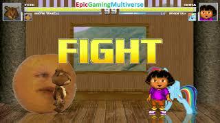 Tedi The Robotic Teddy Bear And Annoying Orange VS Dora And Rainbow Dash In A MUGEN Match / Battle