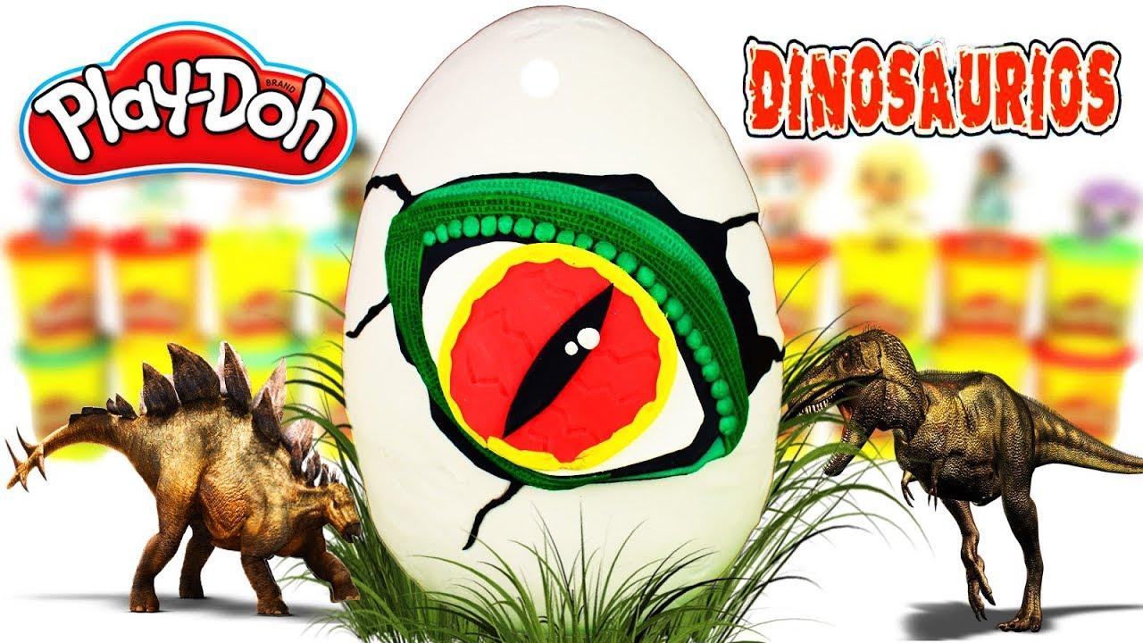 Huevo Sorpresa Gigante de Huevo de Dinosaurio de Jurassic World de Plastilina Play doh en Español
