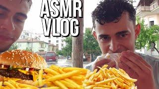 Hamburger Yağmurda Yemek ASMR VLOG | ASMR Türkçe | Yemek Asmr | Mukbang asmr | Vlog Türkçe