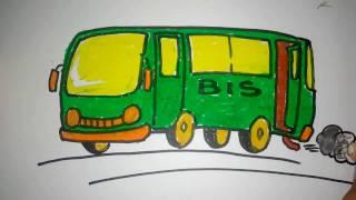 cara menggambar bis kartun