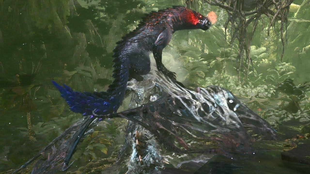 【MHWI】死を纏うヴァルハザク VS オドガロン[亜種](縄張り爭い) - YouTube