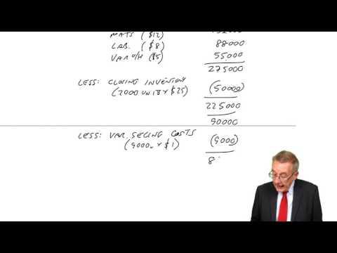 CIMA BA2 - The Management Accountant's Profit Statement – Marginal Costing