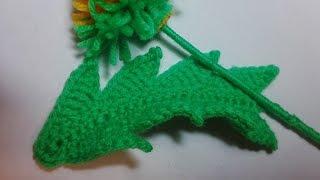 Как связать листик одуванчика. How to knit a dandelion leaf. Мотив 5. Ирландское кружево.