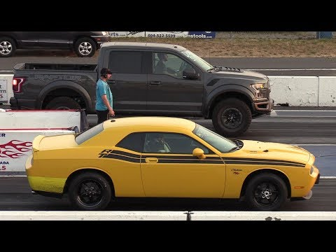 Ford Raptor vs Shelby vs Dodge Challenger vs Ram 3500 drag racing