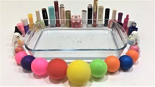 MIXING MAKEUP AND GLITTER INTO CLEAR SLIME!! MIXING SLIME WITH BALLOONS! SATISFYING SLIME VIDEO