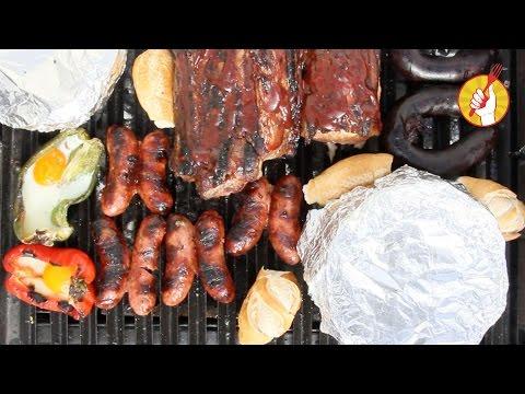 Carne a la Parrilla Vegetales Asados y Postre Facil | Asado con Amigos | Tenedor Libre