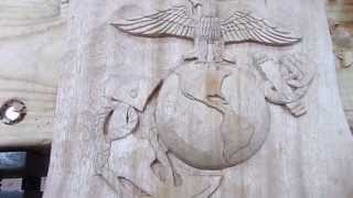 Eagle, Globe, And Anchor Wood Carving