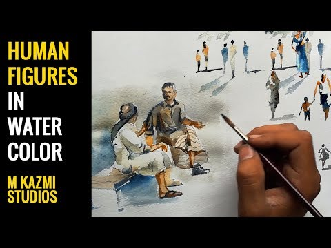 Human figures in watercolor figure composition M Kazmi Studios