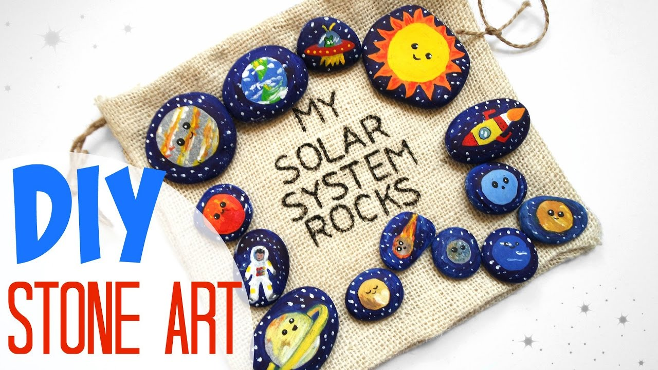 diy stone art science kawaii solar system for kids organic toy