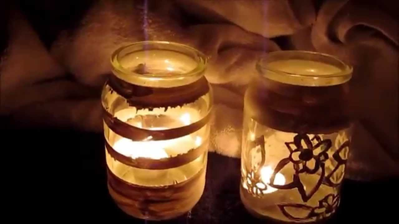 How to - Decorating Jars for tea lights - YouTube