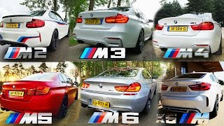 BMW M2 vs M3 vs M4 vs M5 vs M6 vs X6 M ACCELERATION & TOP SPEED POV AUTOBAHN