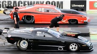 pro mod staging duel twin turbo duster gets the win but pays the price nmra nmca superbowl 15