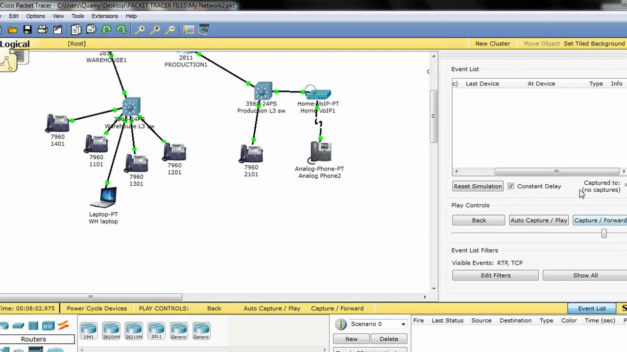 Voip (UDP) and TCP (Packet Tracer)