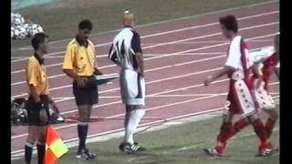 Fabian Barthez of Manchester United as an outfield player in a friendly match in Singapore in 2001