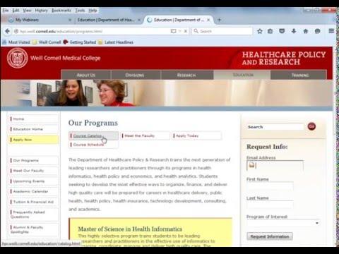 M.S. in Health Informatics / Certificate in Health Analytics - Webinar - January 12, 2016