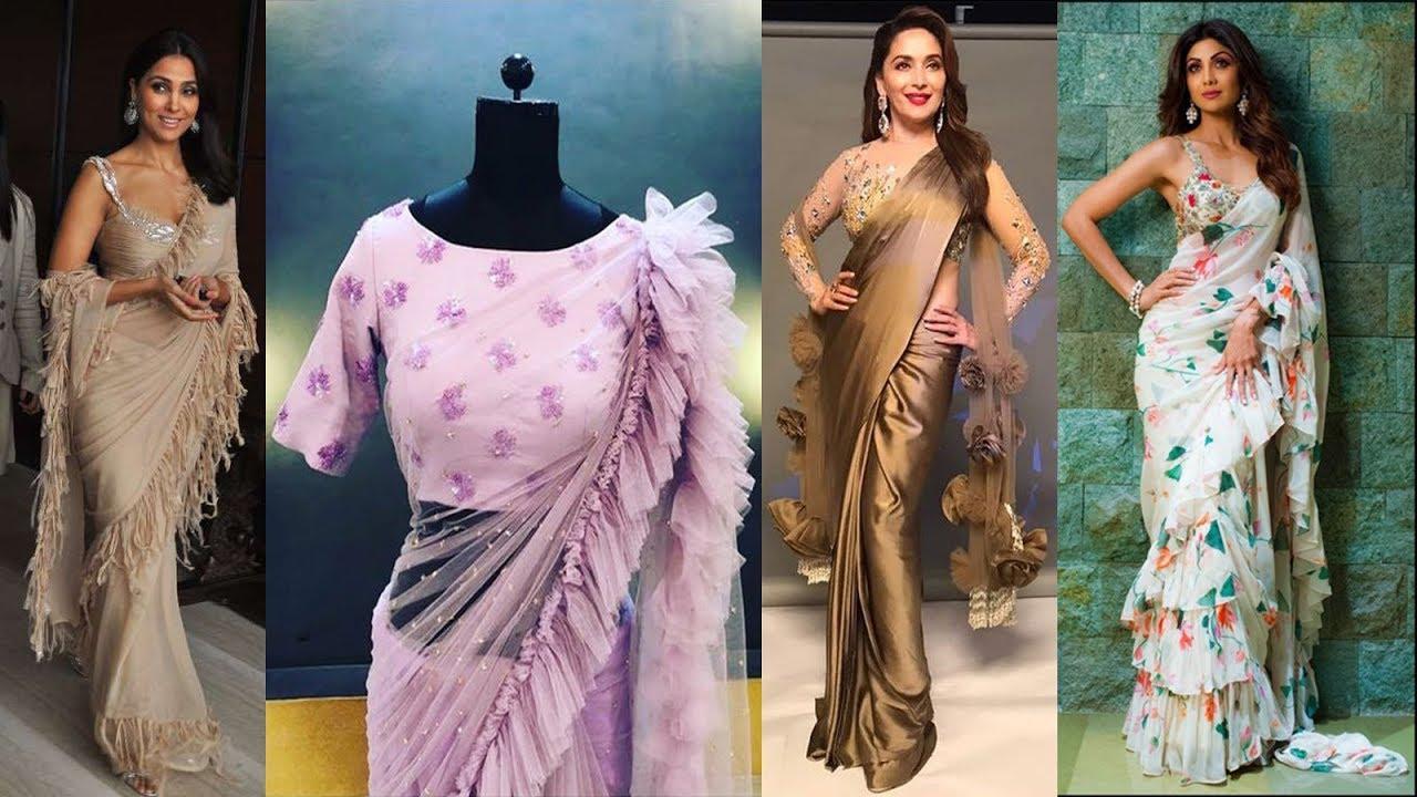 Latest Party Wear Designer Ruffle Pallu Saree Frill Saree With Blouse 2018 2019 Youtube