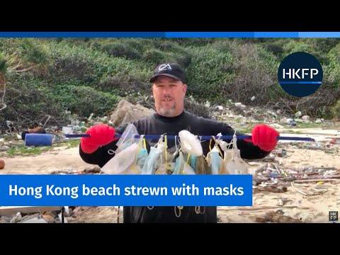 Hong Kong beaches strewn with disposable face masks
