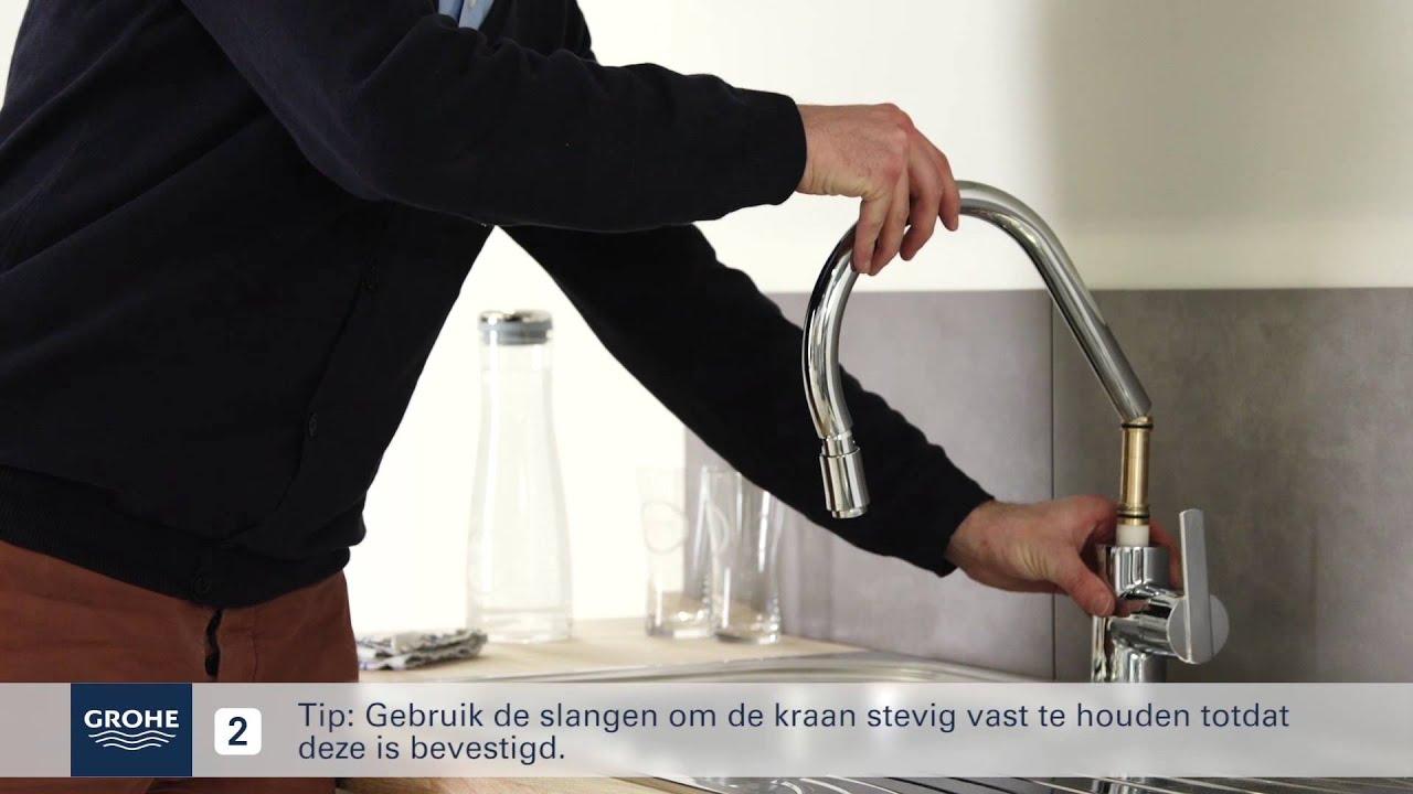 Grohe Kranen Keuken : Grohe keukenkraan met uittrekbare handdouche installeren youtube