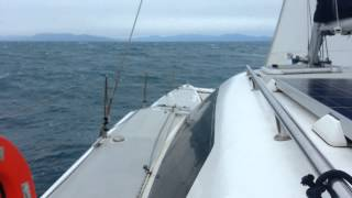 Rogers 10 Catamaran, heading home in 35+ knot wind