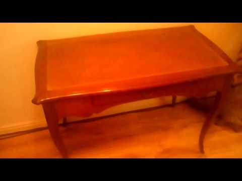 Art nouveau cherry wood writing desk or hall table leather inset
