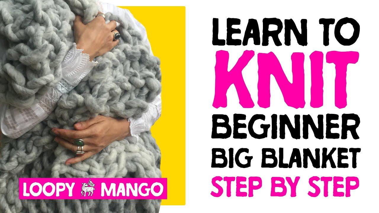 Montauk Throw With Big Loop Yarn And Size 100 Knitting Needles