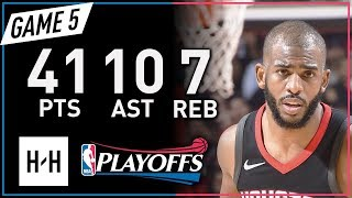 Chris Paul Full Game 5 Highlights Jazz vs Rockets 2018 NBA Playoffs - 41 Pts, 10 Ast, 7 Reb!