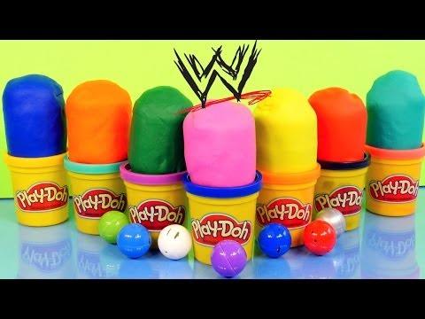 PLAY DOH Surprise Eggs WWE Mashems Toy Wrestlers The Rock John Cena Undertaker Play Dough