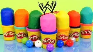 play doh surprise eggs wwe mashems toy wrestlers the rock john cena undertaker play dough