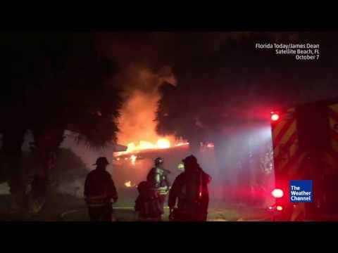 Florida Building on Fire during Hurricane Matthew