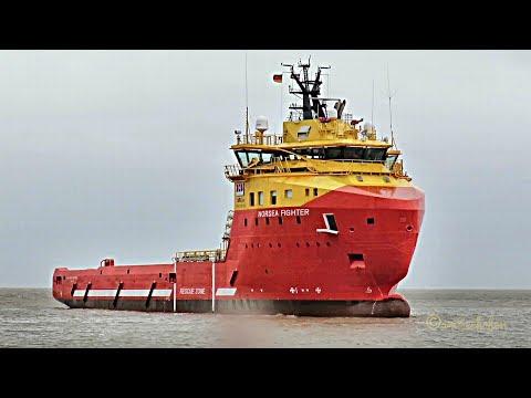 offshore supply ship NORSEA FIGHTER C6DW8 IMO 9623025 inbound Emden 8 BFT U-Turn